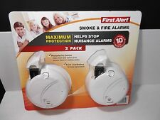 First Alert Smoke and Fire Alarm Set of 2 White Photoelectric Sensor