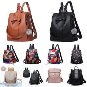 Women-Lady-Leather-Backpack-Anti-Theft-Rucksack-School-Shoulder-Bag-Black-Brown