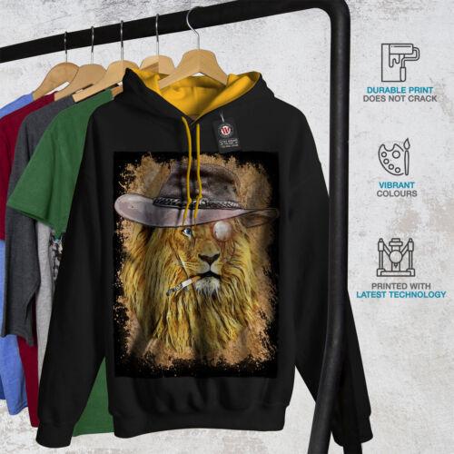 Wild Casual Jumper Wellcoda Smoking Lion Beast Mens Contrast Hoodie