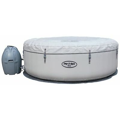 Bestway Lay-Z-Spa Paris 6 Person LED Inflatable Round Heated Hot Tub - White.