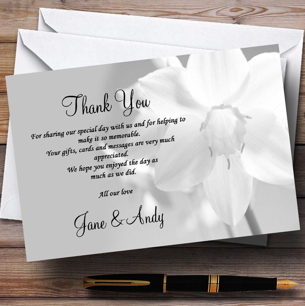 Gris blanc Daffodil Daffodil Daffodil merci de mariage personnalisé cartes 442a98