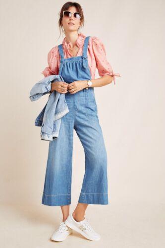 NWT Anthropologie Pilcro Blue Cropped Wide-Leg Denim Jumpsuit Overalls 30