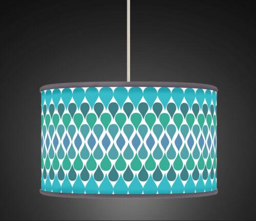 20 cm Aqua Green Teal Tear-drop Retro Geometric Handmade Giclee  lampshade 492