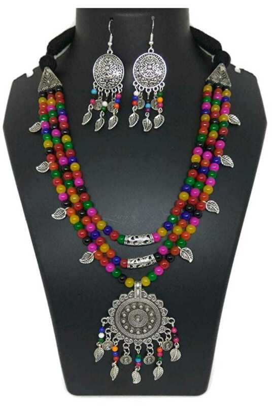 Multi-color Beads Silver Oxidized Leaf With Multicolor Jhumka