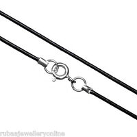 """1mm 16"""" / 41 Cms GENUINE BLACK LEATHER CORD NECKLACE 925 STERLING SILVER CLASP"""