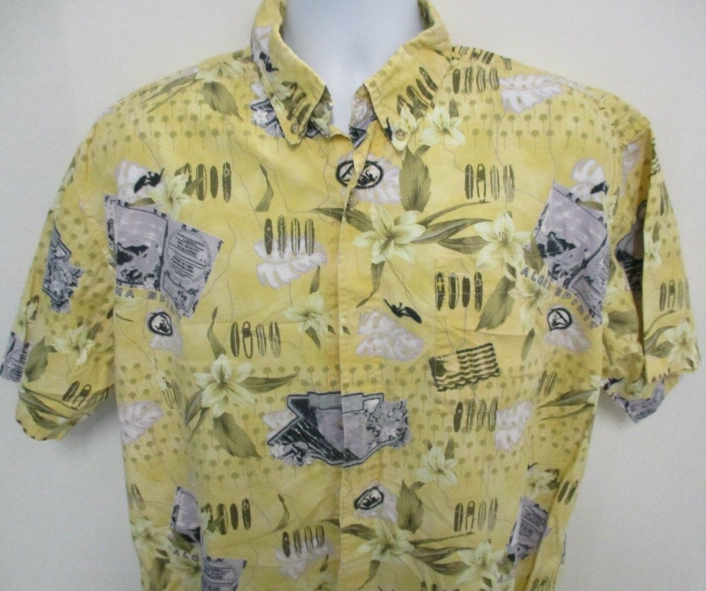 Newport bluee Hawaiian Camp Style Shirt, S S, Large, Yellow w  Surfboards Flowers