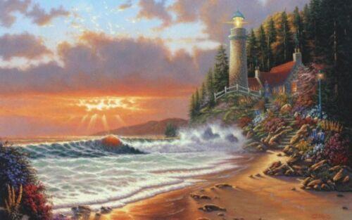 "Golden Hour by Derk Hansen Lighthouse Seaside Print  16/"" x 12/"""