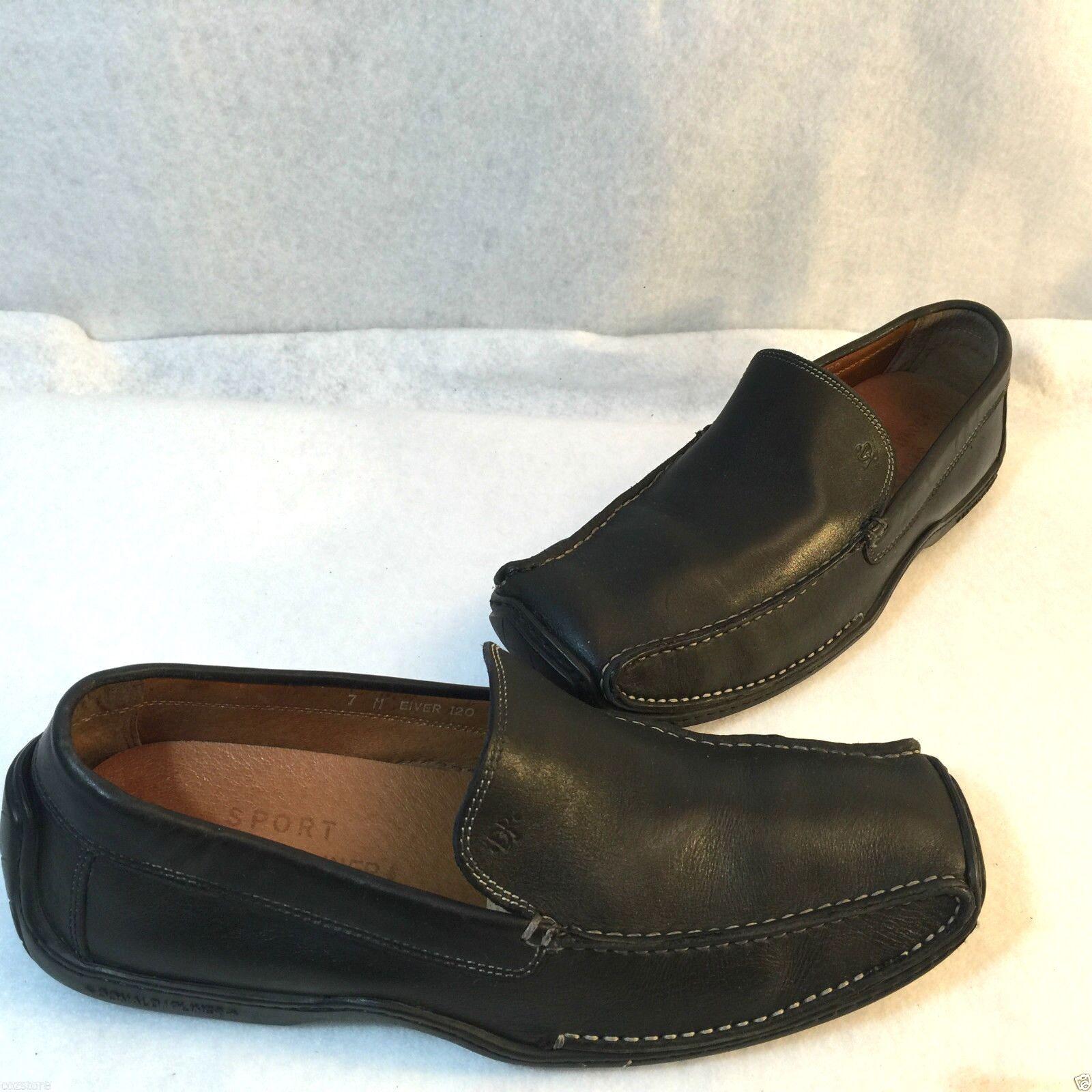 Donald Pliner Eiver Slip On Loafer Driving Moc Black Vachetta Leather shoes 7 M