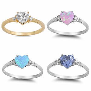 Sterling-Silver-925-CZ-STONE-amp-LAB-OPAL-HEART-DESIGN-FRIENDSHIP-RINGS-SIZES-4-12