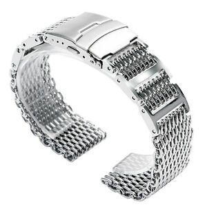 20/22/24mm Silver Bracelet Stainless Steel Shark Mesh Watch Band Wrist Strap HQ