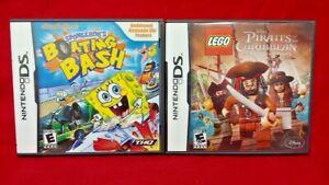 Lego Pirates + Spongebob Boating Bash - Game Lot Nintendo DS Lite 3DS 2DS Tested
