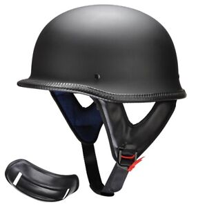 DOT Motorcycle German Style Half Open Face Helmet Chopper Cruiser Scooter M L XL