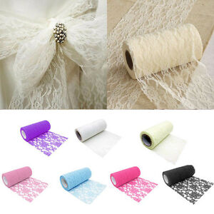 6-034-x-10Yards-Vintage-Lace-Roll-Fabric-Tulle-Table-Runner-Chair-Sash-Wedding