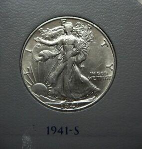 1941-S Walking Liberty Half Dollar; Choice AU-BU; Flashy White