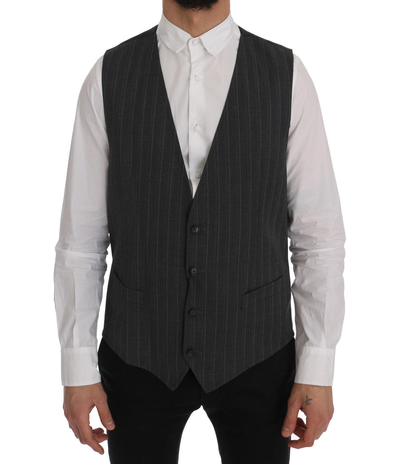 NEW 360 DOLCE & GABBANA Vest Waistcoat grau Wool Stretch Gilet IT56 / US46 /XXL