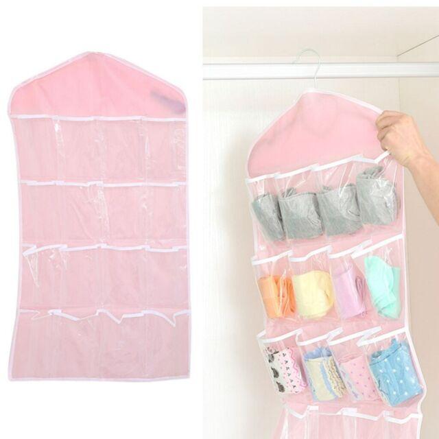 16 Grid Underwear Bras Socks Ties Shoes Storage Organizer Box Hanging Bags 6L