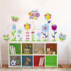 Colourful Butterfly Flower Owls Wall Stickers Art Decal Nursery Decor Girls Kids