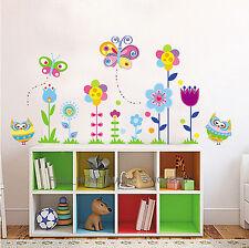 COLORATO Farfalla Fiore Gufi adesivi da parete Arte Decalcomania Vivaio DECOR Bambine Bambini
