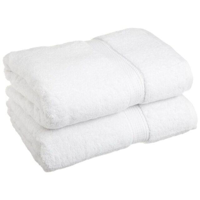 "2-pc White Superior 900 GSM 2-Ply 100 Cotton Thick Bath Towel Set 30/"" x 55/"""