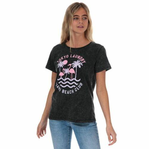 Women/'s Tokyo Laundry Covetes à encolure ras-du-cou à manches courtes T-shirt en Coton en Noir