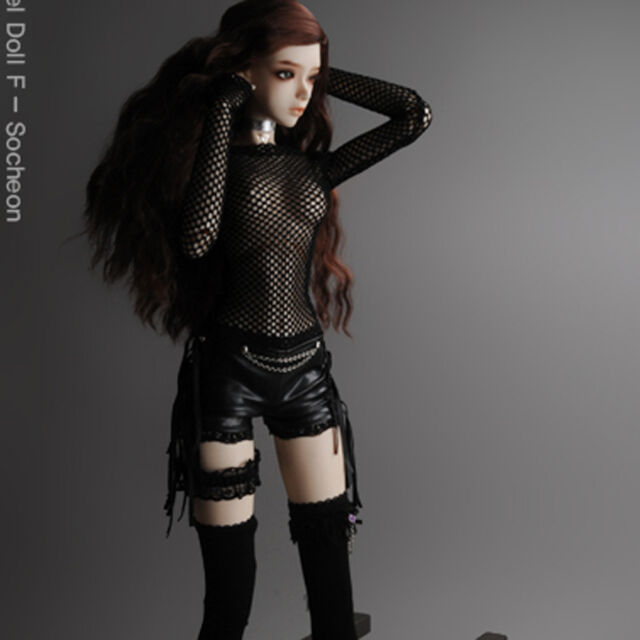 """Dollmore 26"""" BJD girl clothes Model F - Glam Net All-in-one (Black)"""