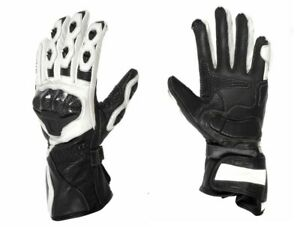 Guanti-Moto-Racing-Pro-Future-In-Pelle-Con-Protezioni-in-Carbonio-NERO-BIANCO