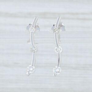 0-24ctw-Diamond-Journey-Drop-Earrings-14k-White-Gold-Pierced-3-Stone