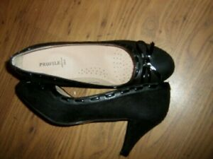 New-Labelled-Profile-Black-Round-Toe-With-Bow-2-5-034-Heel-Shoes-Size-4