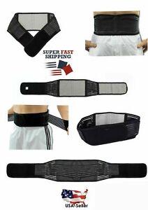 Magnetic Heat Lower Lumbar Support Belt Back Brace Compression Adjustable Black