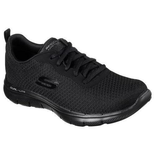 skechers womens black trainers