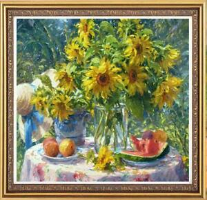 "Hand painted Original Oil Painting art Portrait Sunflower on Canvas 30""x30"""