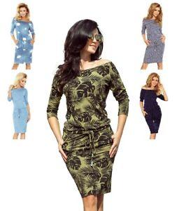 finest selection 79e8a 7ae61 Details zu Numoco Kleid knielang 3/4-Arm stretch figurumspielend lässig  sportlich Taschen