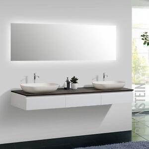 Badmöbel Vision 180 cm Weiß Spiegel Aufsatzwaschbecken ... | {Waschbeckenunterschrank hängend aufsatzwaschbecken 96}
