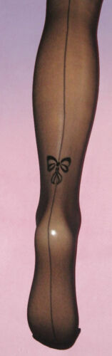 Seamed 8-12 Burlesque Black Sheer Tights with Flock Bow /& Back Seam