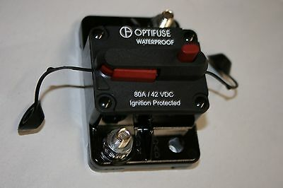 153060 OPTIFUSE® 60A Water Proof Circuit Breaker w// Manual Reset 42VDC MAX