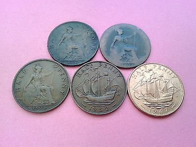 Bulk Lot of Five British Monarch Coins Half Penny Collection 1896 - 1967 (Rf547)
