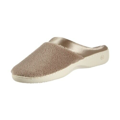 Isotoner MICROTERRY CLOG 96000 Taupe Pillow Step Satin Cuff Slippers Shoes