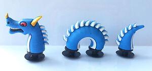 3D Blue Sea Serpent Snake Dragon Croc Shoe Charms - 3 Pieces For Crocs Jibbitz