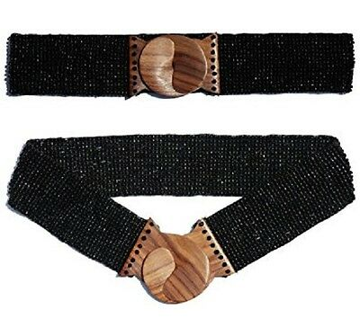 Hand-made Elastic Stretchy Beaded Belt Black With Wooden Hook Buckle