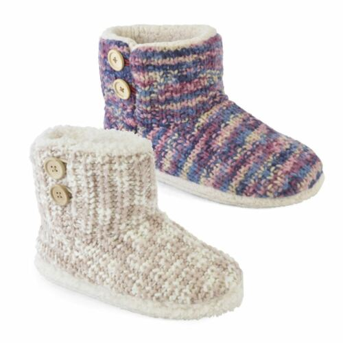 Ladies Mixed Knit Button Detail Bootee Slippers Sizes 3-8 Soft Plush
