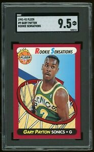 1991-92-Fleer-Rookie-Sensations-9-Gary-Payton-RC-SGC-9-5-PSA-10-Insert