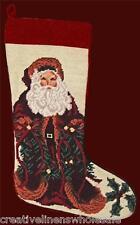 Santa Needlepoint Christmas Stocking 11x17? Finished Piece New #1001