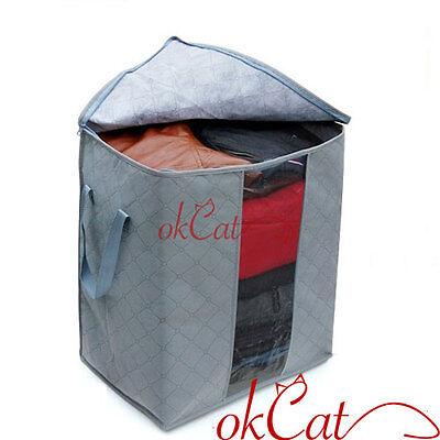 Bamboo Charcoal Folding Clothes Sweater Blanket Closet Organizer Storage Bag Box
