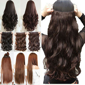 Ladies 34 full head clip in hair extensions 1pcs half head piece image is loading ladies 3 4 full head clip in hair pmusecretfo Images