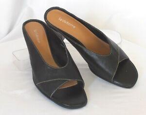 15fa01e232 LIZ CLAIBORNE 'Twinkle 2' Size 9 M Black Leather Open-Toe Med-Heel ...