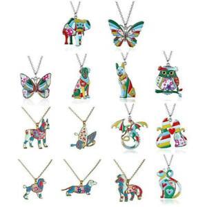 Damen-Tier-Schmetterling-Katze-Golds-Kette-Anhaenger-Halskette-Schmuck-Z3U1-Q2R8