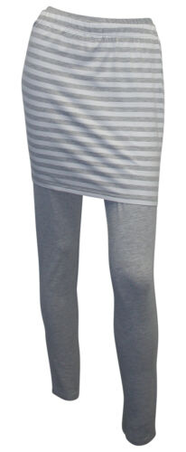 Rock 44 46 grau meliert weiß gestreift 2-teilig Set Jersey Leggings