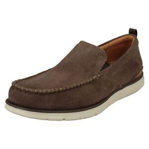 Hombre-CLARKS-EDGEWOOD-Step-Piel-Ante-Gris-Topo-Zapatos-sin-cierres