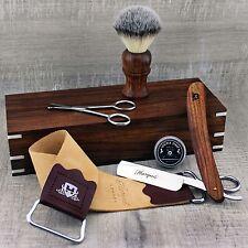 CLASSIC SHAVING SET Synthetic Brush & Straight Cut Throat Razor | Vintage Barber