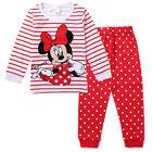 Minnie Mickey Mouse Kids Girls Striped Nightwear Pajamas Set Sleepwear Suit